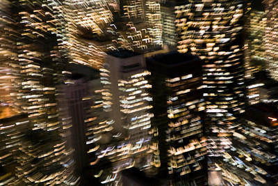 Midtown from the Empire State Building by night. Zooming effect done with the lens. Manhattan, New York City, USA.