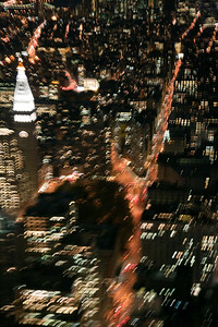 Midtown Manhattan from the Empire State building, New York City, USA. Motion blur.