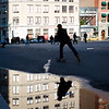 Reflections on a puddle, Union Square, NYC, USA