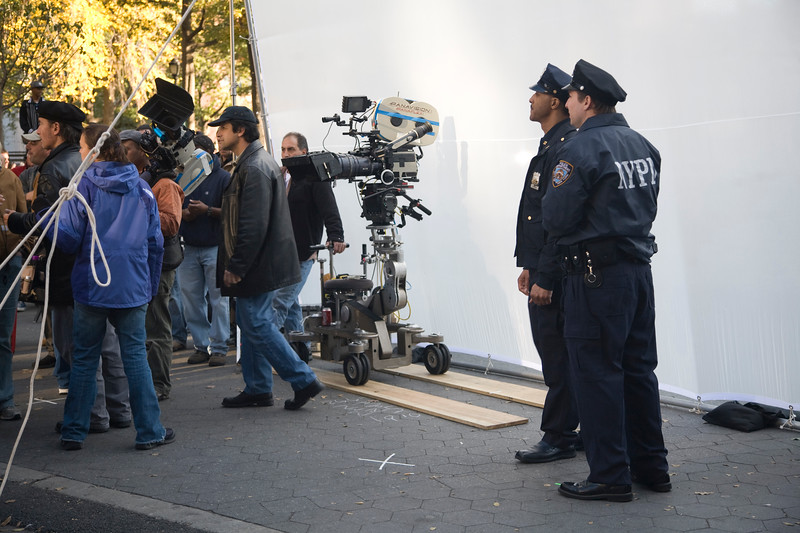 Actors disguised as policemen during a filming, Union Square, NYC, USA