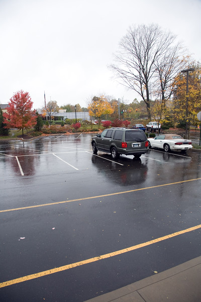 Almost empty parking on a rainy fall day in Connecticut, USA