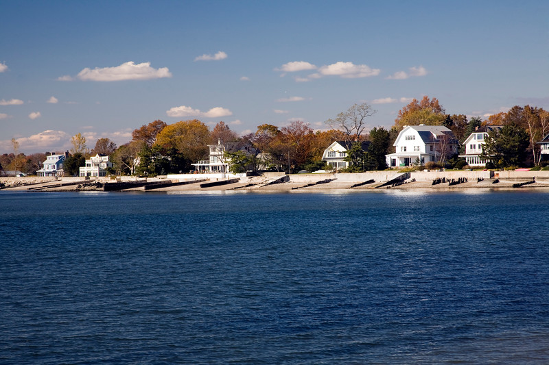 Houses by the sea near Compo Beach, CT, USA