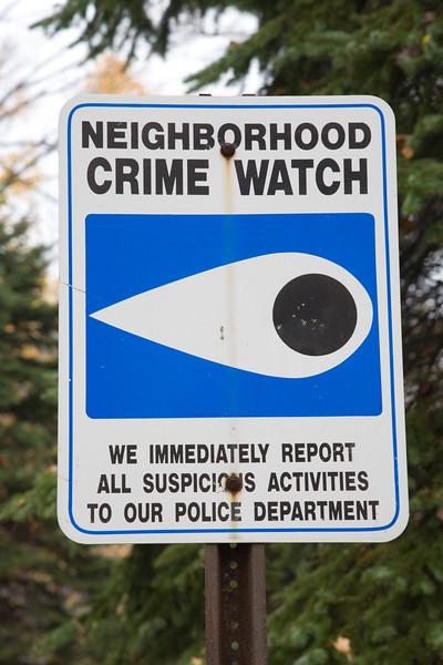 Crime Watch Sign, CT, USA
