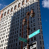 Side view of Flatiron building from Broadway, NYC, USA