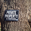 Plate with the sign private property, no trespassing, on a tree trunk, CT, USA