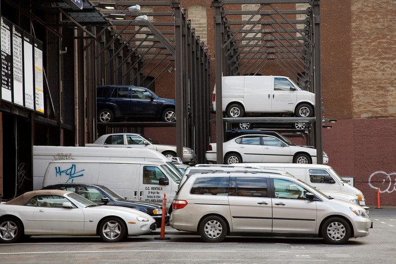 Vertical car parking on Lafayette street, NYC, USA
