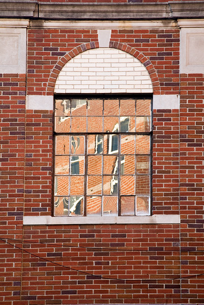 Brick wall of a former warehouse, South Norwalk, CT, USA
