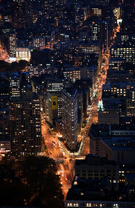 The Flatiron building, Broadway and 5th Avenue from the Empire State building, Manhattan, New York City, USA.