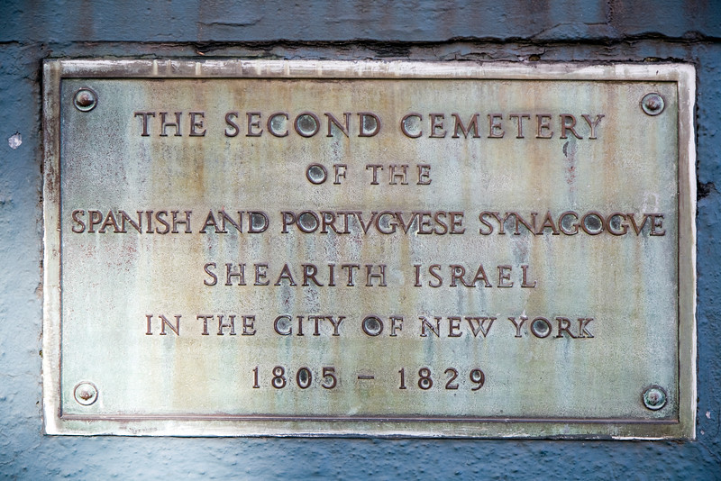 Old plaque of the cemetery of the Spanish Portuguese Synagogue, NYC, USA
