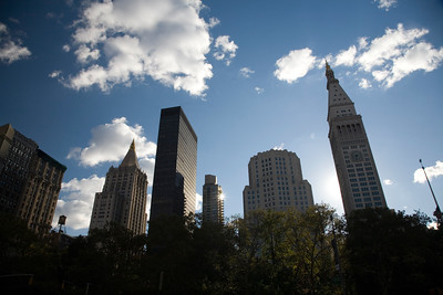 The Metropolitan Life Insurance Tower (right) and other buildings from Madison Square Park, Flatiron district, NYC, USA