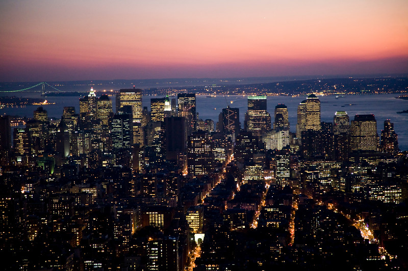 Downtown Manhattan from the Empire State Building, New York City, USA.
