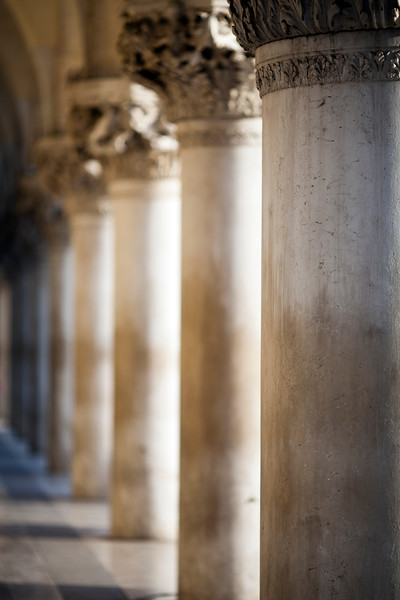 Detail of the Doge's Palace colonnade, Venice, Italy