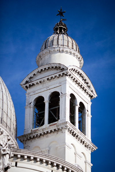 Detail of a bell tower, La Salute church, Venice, Italy
