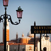 Sign of Gondola Service at the Piazzetta, with San Giorgio Maggiore on the background, Venice, Italy