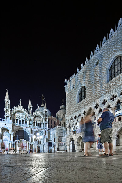Basilica of St Mark (left) and Doge's Palace (right) by night, Venice, Italy