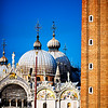 Detail of St Mark Basilica and the Campanile, Venice Italy