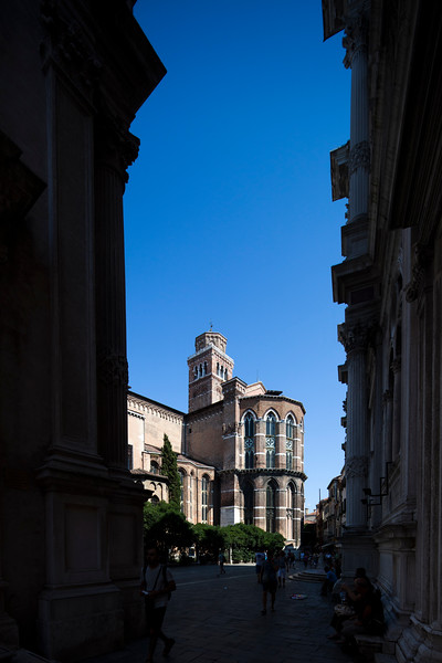Rear view of Frari church, San Polo sestiere, Venice, Italy