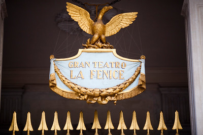 Sign on the door of La Fenice Theater, Venice, Italy