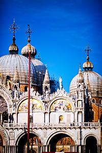 Detail of St Mark Basilica facade, Venice Italy