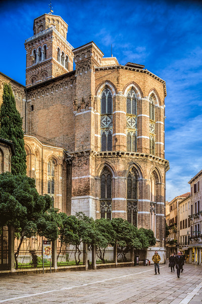 Basilica di Santa Maria Gloriosa dei Frari, Venice, Italy, rear view.