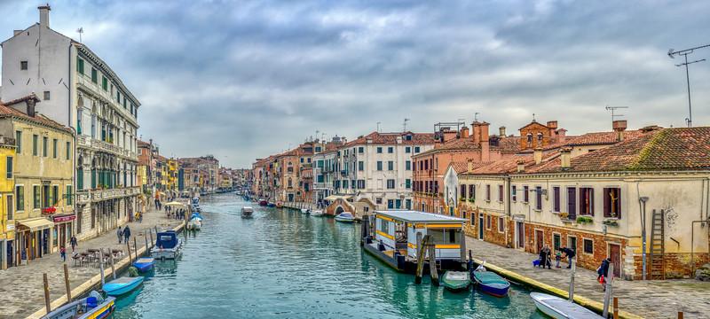 Cannaregio Canal from Ponte dei Tre Archi, Venice, Italy. High resolution panorama.