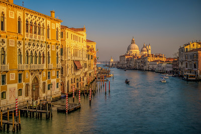 Grand Canal from  Ponte dell'Accademia, with the Palazzo Cavalli-Franchetti on the left and La Salute church on the background. Venice, Italy.