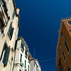 Low angle view of a Venetian street from a gondola, Venice, Italy