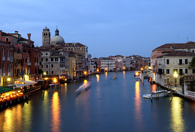Canal Grande from Scalzi bridge with Santa Lucia's dome on the left, Venice, Italy. Long exposure