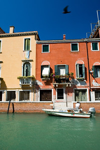 Canal and typical houses, Dorsoduro quarter, Venice, Italy