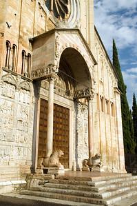 Detail from San Zeno basilica doorway, in Romanesque style, Verona, Veneto, Italy
