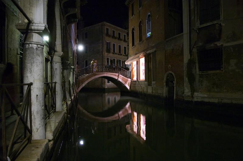 Nocturnal view of a bridge over a canal, Cannaregio quarter, Venice, Italy.