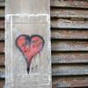 Heart painted on an old door, Venice, Italy
