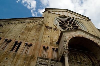 Facade of San Zeno basilica, in Romanesque style, Verona, Veneto, Italy