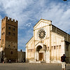 Romanesque San Zeno monastery (tower to the left) and Basilica (to the right), Verona, Veneto, Italy