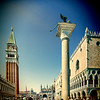 The Campanile and the Doges Palace from the Piazetta, Venice, Italy