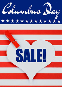 Columbus Day image in bright red and white stripes  and a blue banner with stars with text added for sales and deals on the holiday.