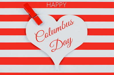 Columbus Day image in bright red and white stripes  and a blue banner with stars with text added