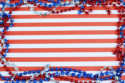 Cheerful red and white horizontal stripes form the background. Border is formed of shiny beads in red, silver and blue. Copy space. Good for USA patriotic holidays like July 4th, Memorial Day, Labor Day and Presidents Day.