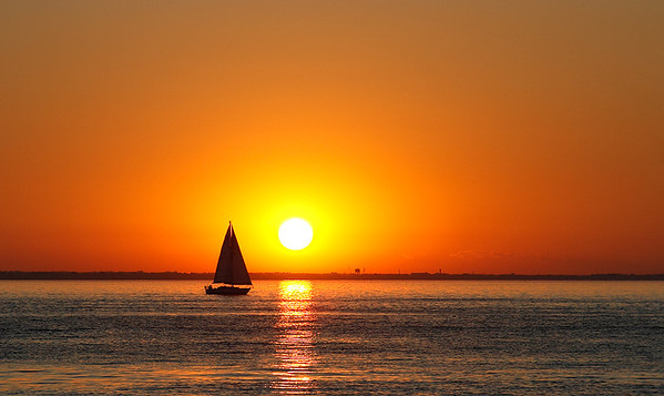 Sailboat at Sunset - Lake Winnebago (Wisconsin)
