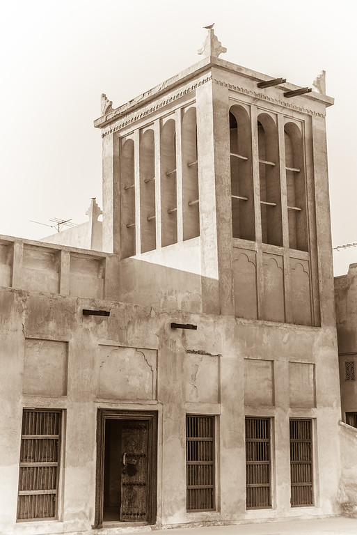 Traditional wind cooling tower, or wind catcher, at Shaikh Isa bin Ali house in Muharraq, Bahrain.