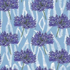 Pattern of blue flowers on an abstract background