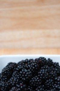 Blackberries with blurred background.