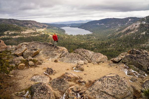 Hiker above Donner Lake