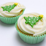 Two Christmas cup cakes