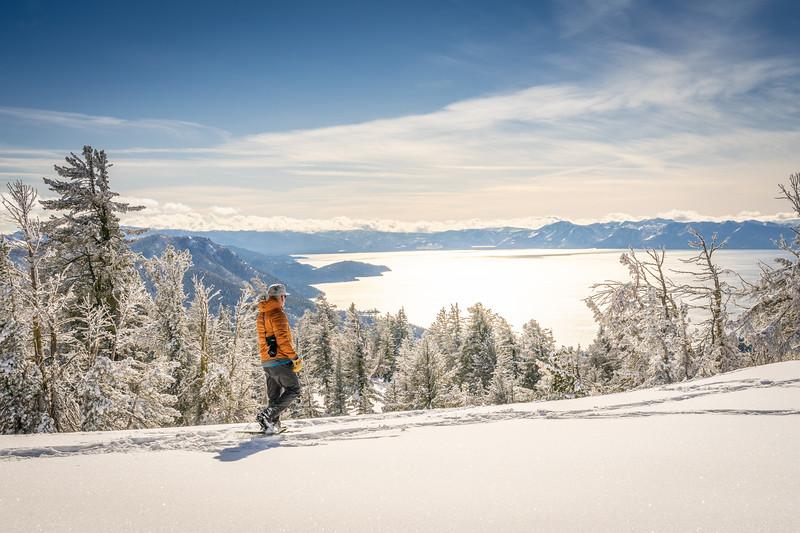 Man Snowshoeing Chickadee Ridge
