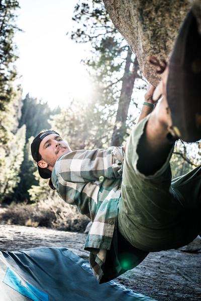 Man Bouldering at Split Rock