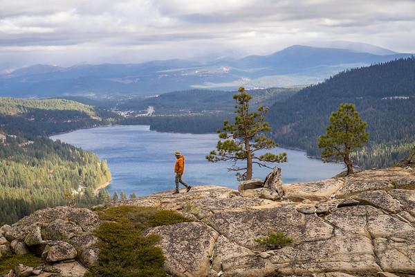 Man Walking over Donner Lake