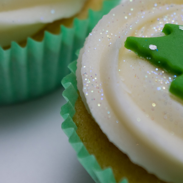 Christmas cup cake close up