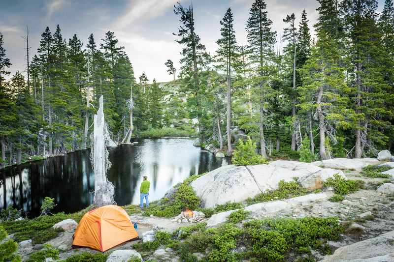 Man Camping on Pacific Crest Trail