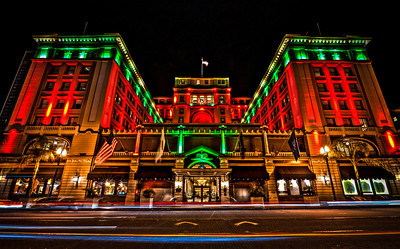 The U.S. Grant Hotel in downtown San Diego, California. Illuminated brilliantly for the holidays.